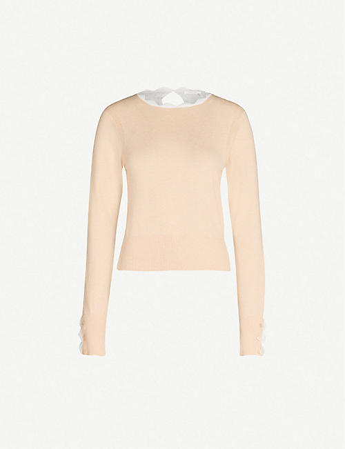 daf2752eb49 SEE BY CHLOE Contrast-back scalloped cotton-blend knit jumper