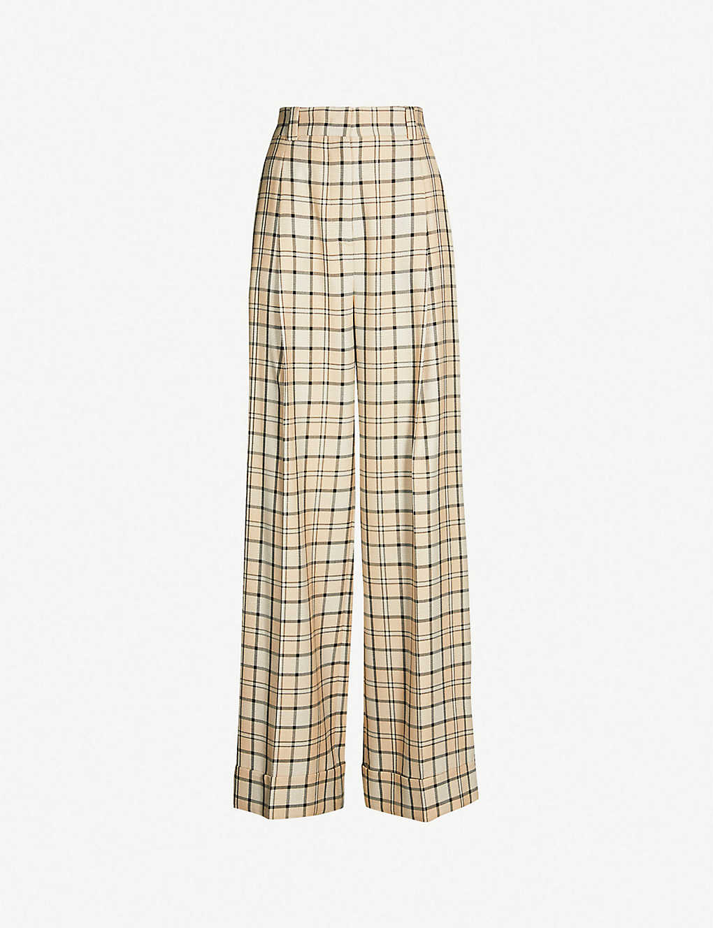 1b49a34c24 SEE BY CHLOE - Checked high-rise wide-leg woven trousers ...