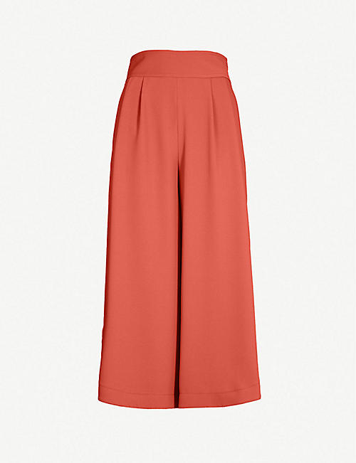 SEE BY CHLOE Cropped high-rise wide-leg crepe trousers