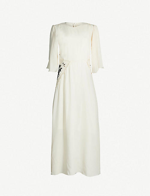 d3cb9c979d10 SEE BY CHLOE Flared-sleeve embroidered-panel crepe midi dress