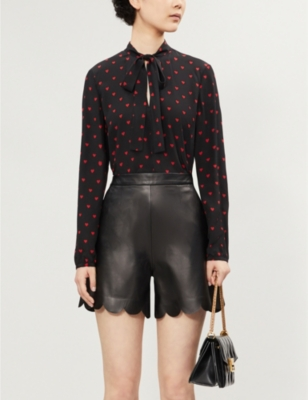 Heart Print Silk Blouse by Red Valentino
