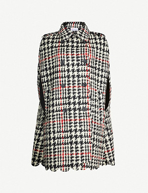 RED VALENTINO Checked double-breasted wool-blend cape coat