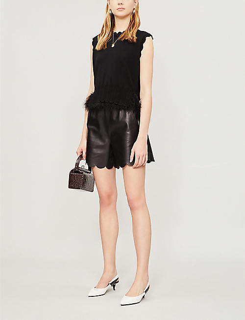 RED VALENTINO Scallop-trimmed high-waisted leather shorts