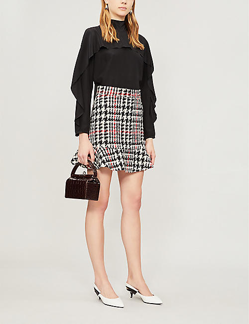 RED VALENTINO Checked high-waisted wool-blend skirt