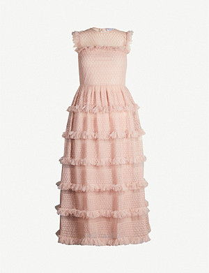RED VALENTINO Tulle tiered midi-dress