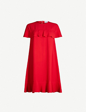 RED VALENTINO Ruffled-trim crepe mini dress