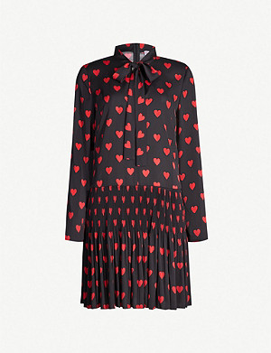 RED VALENTINO Heart-print long-sleeved crepe mini dress
