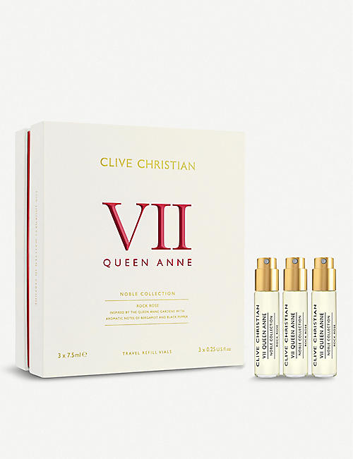 CLIVE CHRISTIAN Noble VII Queen Anne Rock Rose perfume travel set of three