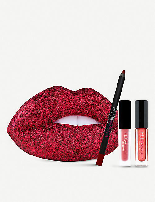 a375f55ae2fd8 HUDA BEAUTY Festive Red Glitter Lip Tin
