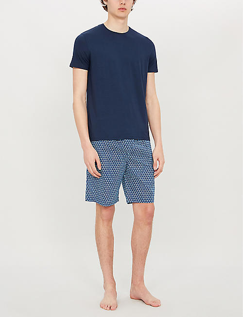 DEREK ROSE ledbury triangle-print relaxed-fit cotton shorts
