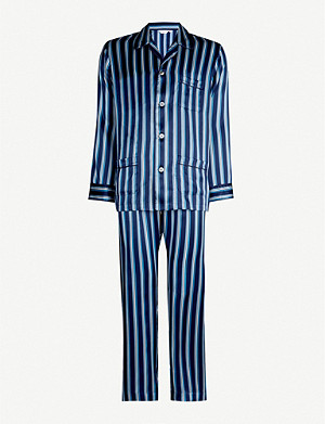 DEREK ROSE Mosaic striped silk pyjama set