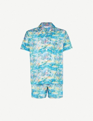 DEREK ROSE Beach-print cotton pyjama set