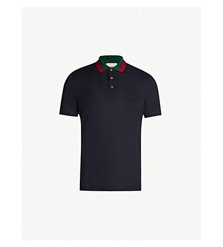 2160df767e94 GUCCI - Striped collar stretch cotton-piqué polo shirt