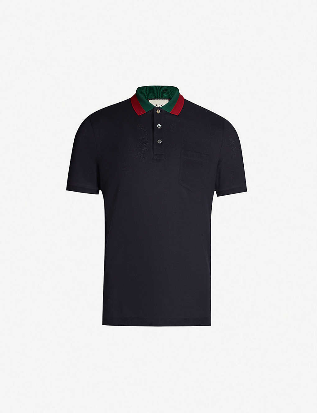 69c8ed6bf0b7 GUCCI - Striped collar stretch cotton-piqué polo shirt