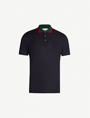 9b8f2e2836f GUCCI · Striped collar stretch cotton-piqué polo shirt