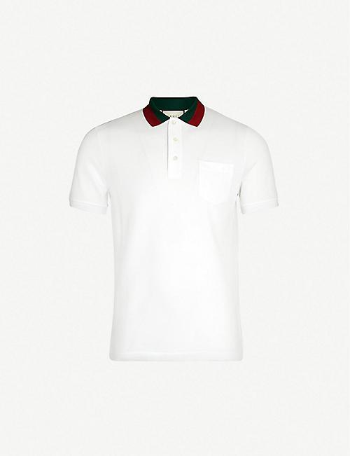 49ff418eea9 GUCCI Striped collar stretch cotton-piqué polo shirt