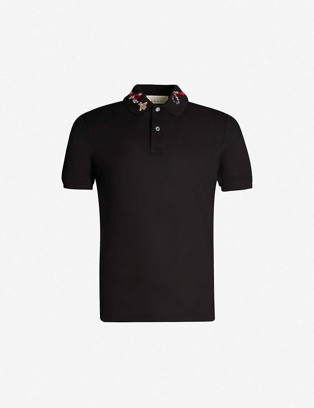 7de7b53b2 GUCCI - Snake-embroidered cotton-piqué polo shirt | Selfridges.com