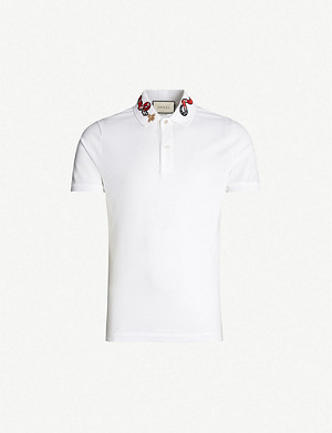 GUCCI Snake-embroidered cotton-piqu? polo shirt