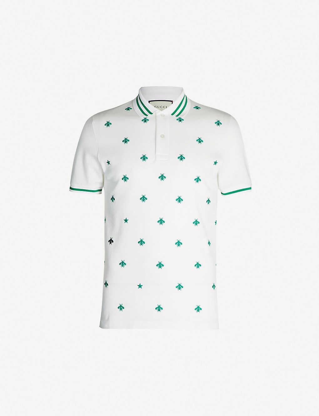 b176d4edb94 GUCCI - Bee-embroidered stretch cotton-piqué polo shirt | Selfridges ...