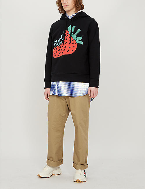 GUCCI Strawberry-print cotton-jersey hoody
