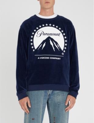 a51dc9e4 GUCCI - Graphic-print velvet sweatshirt   Selfridges.com