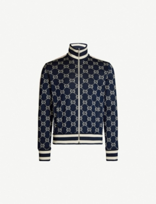 GUCCI Logo-intarsia stretch-jersey jacket