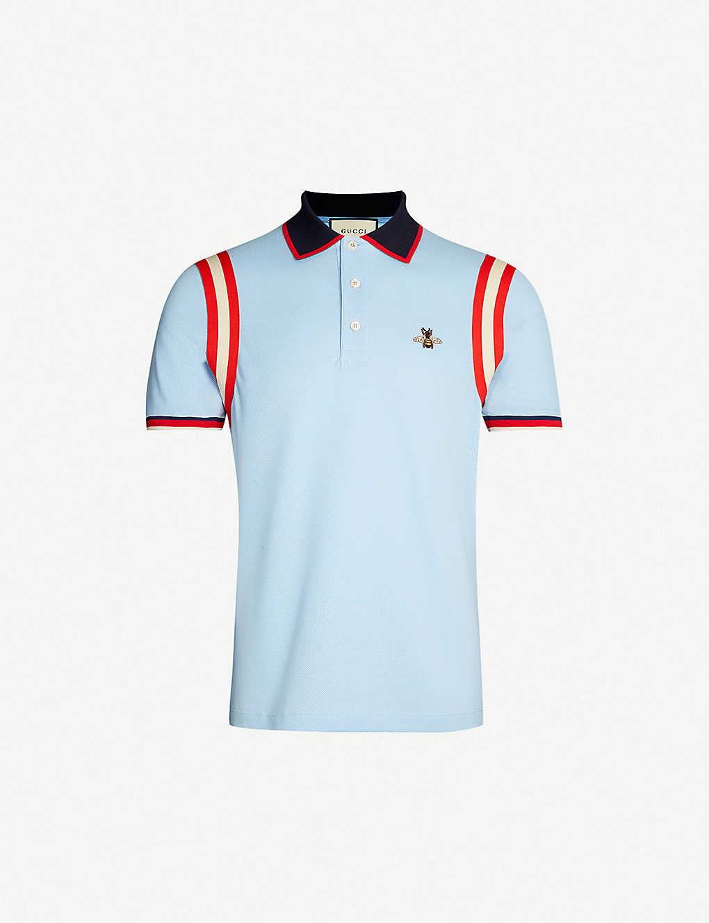 2381fc041af Bee-embroidered cotton-piqué polo shirt - Pale blue ...
