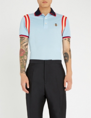 dd74e118 GUCCI - Bee-embroidered cotton-piqu? polo shirt | Selfridges.com
