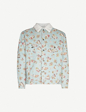 GUCCI Love-print denim and faux-shearling jacket