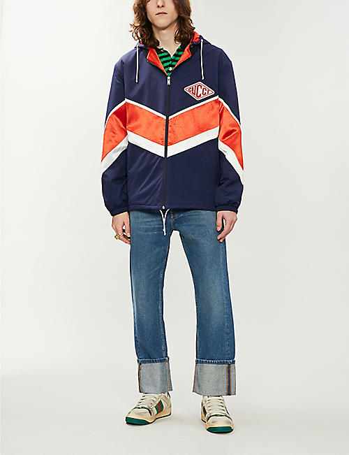 GUCCI Colour-blocked shell hooded jacket