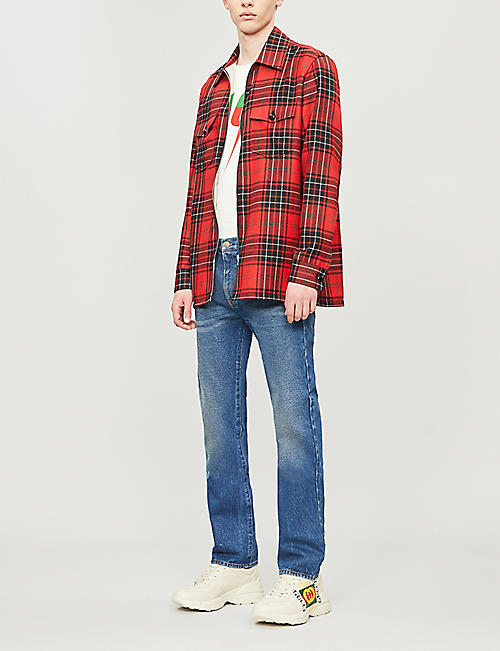 GUCCI Slogan-appliqué checked oversized wool shirt