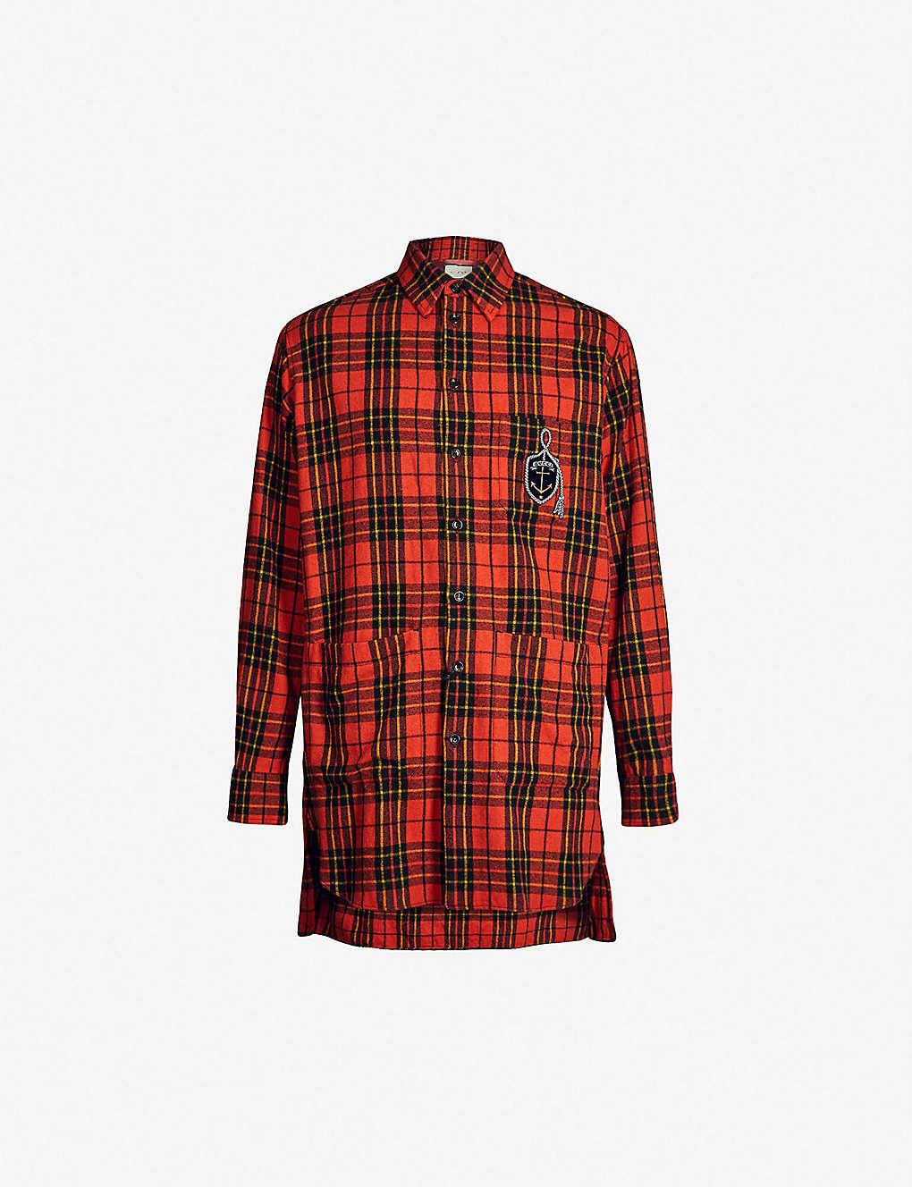 c781dfb4 GUCCI - Checked oversized wool-blend shirt | Selfridges.com