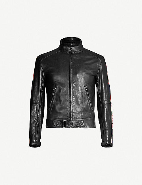 7b87d755a04 GUCCI Side-stripe leather biker jacket