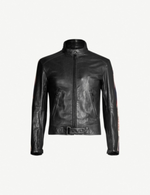 GUCCI Side-stripe leather biker jacket