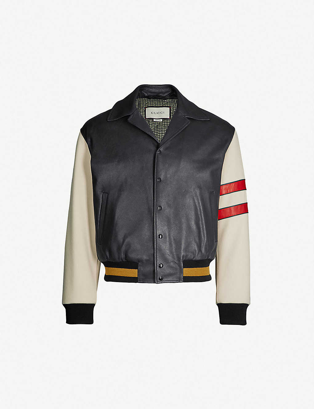 390f1e80 Logo-print leather bomber jacket
