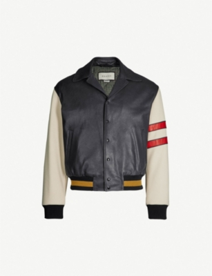 GUCCI Logo-print leather bomber jacket