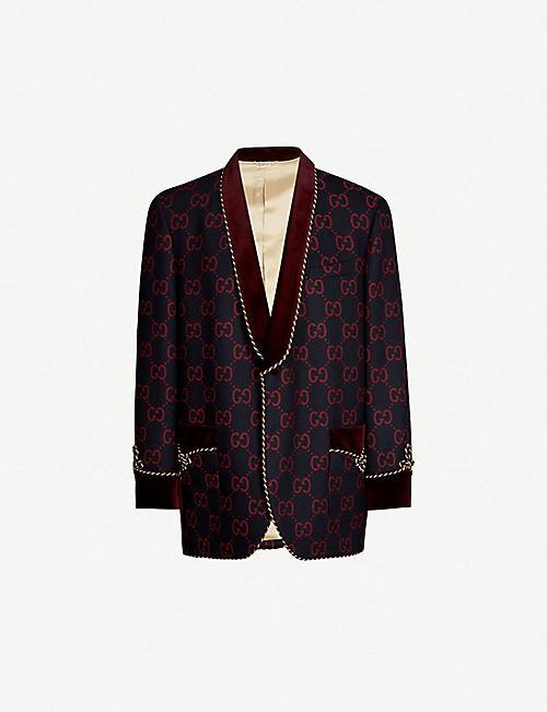 3013d8a93 Striped belted silk-twill jacket. £2,250.00. GUCCI GG-motif wool-flannel  blazer