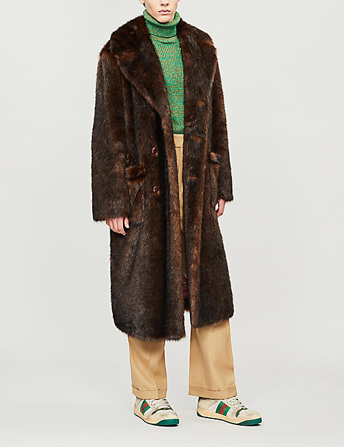 GUCCI Double-breasted faux-fur coat