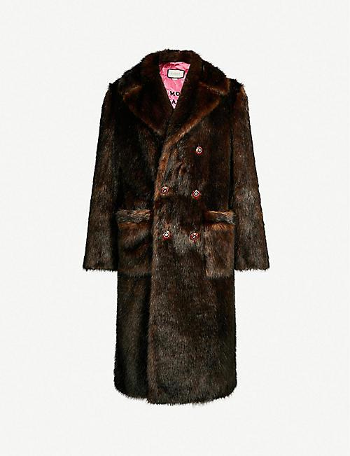 14eb77e2018 GUCCI Double-breasted faux-fur coat