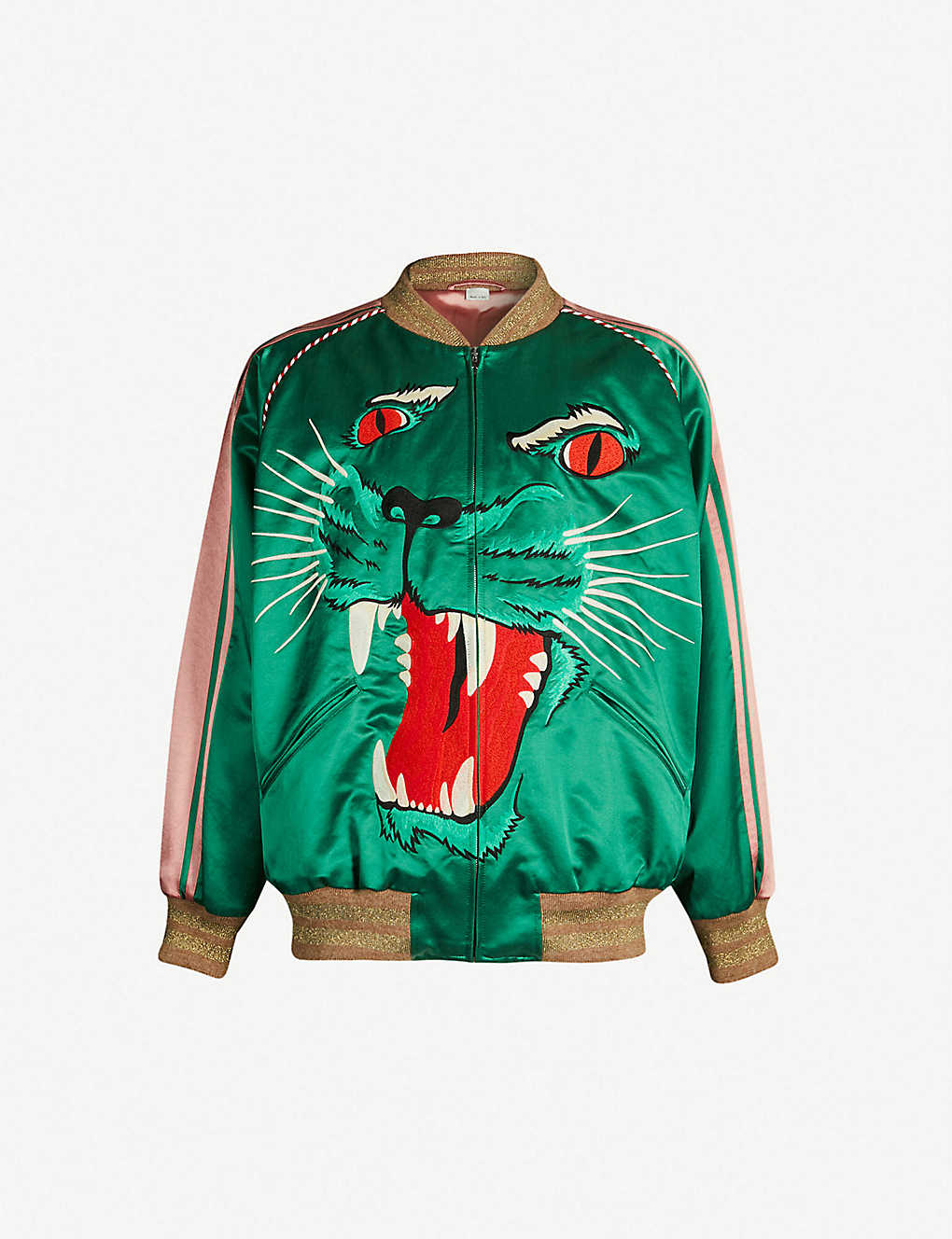 548685d60 Cat-embroidered satin bomber jacket