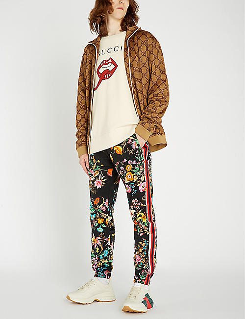 GUCCI Floral-print shell jogging bottoms
