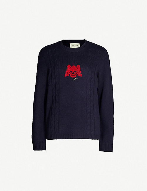 e6cd73937 GUCCI Winged Skull wool and cashmere-blend jumper