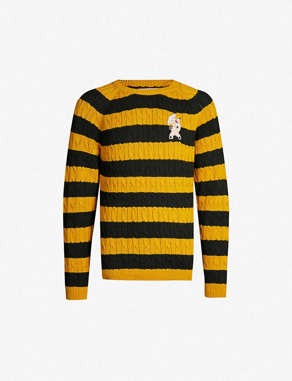 Gucci Pig-patch striped cotton jumper