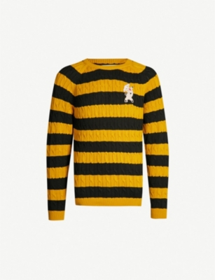 GUCCI Pig-patch striped cotton jumper