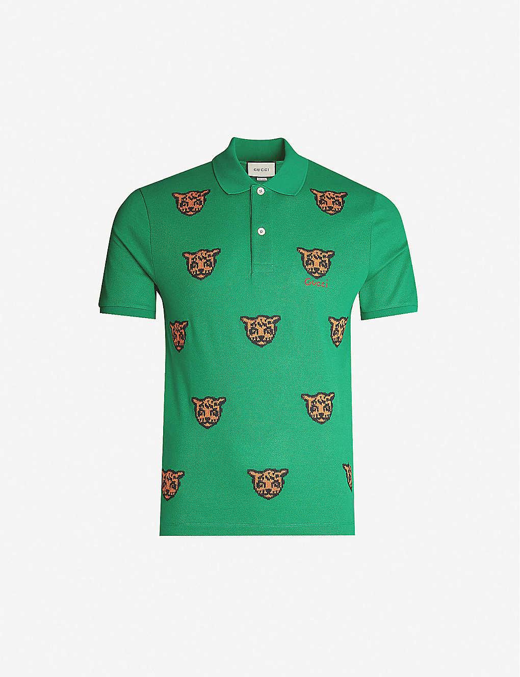 dda38c4afd1e0b GUCCI - Tiger-embroidered stretch-cotton piqué polo shirt ...