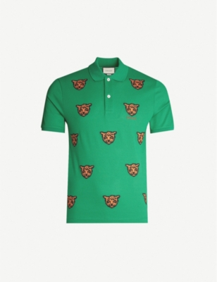 GUCCI Tiger-embroidered stretch-cotton piqué polo shirt
