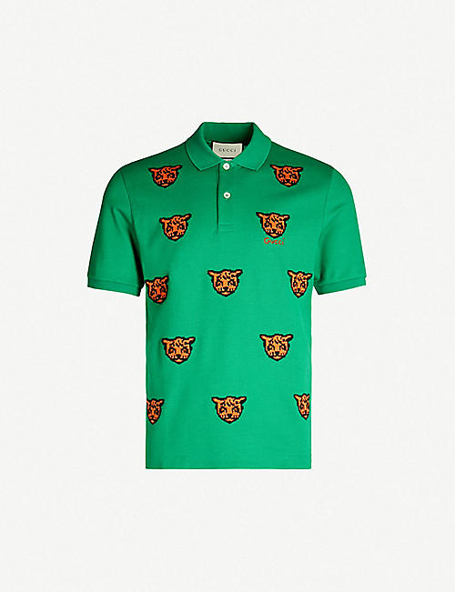 6cac7029096 GUCCI Tiger-embroidered stretch-cotton piqué polo shirt