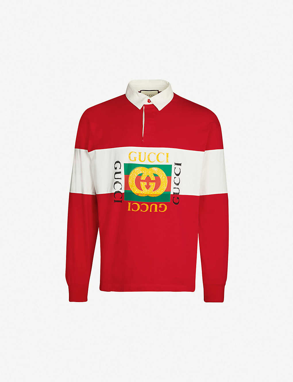 6c5dc466e29 GUCCI - Striped cotton-jersey rugby top   Selfridges.com