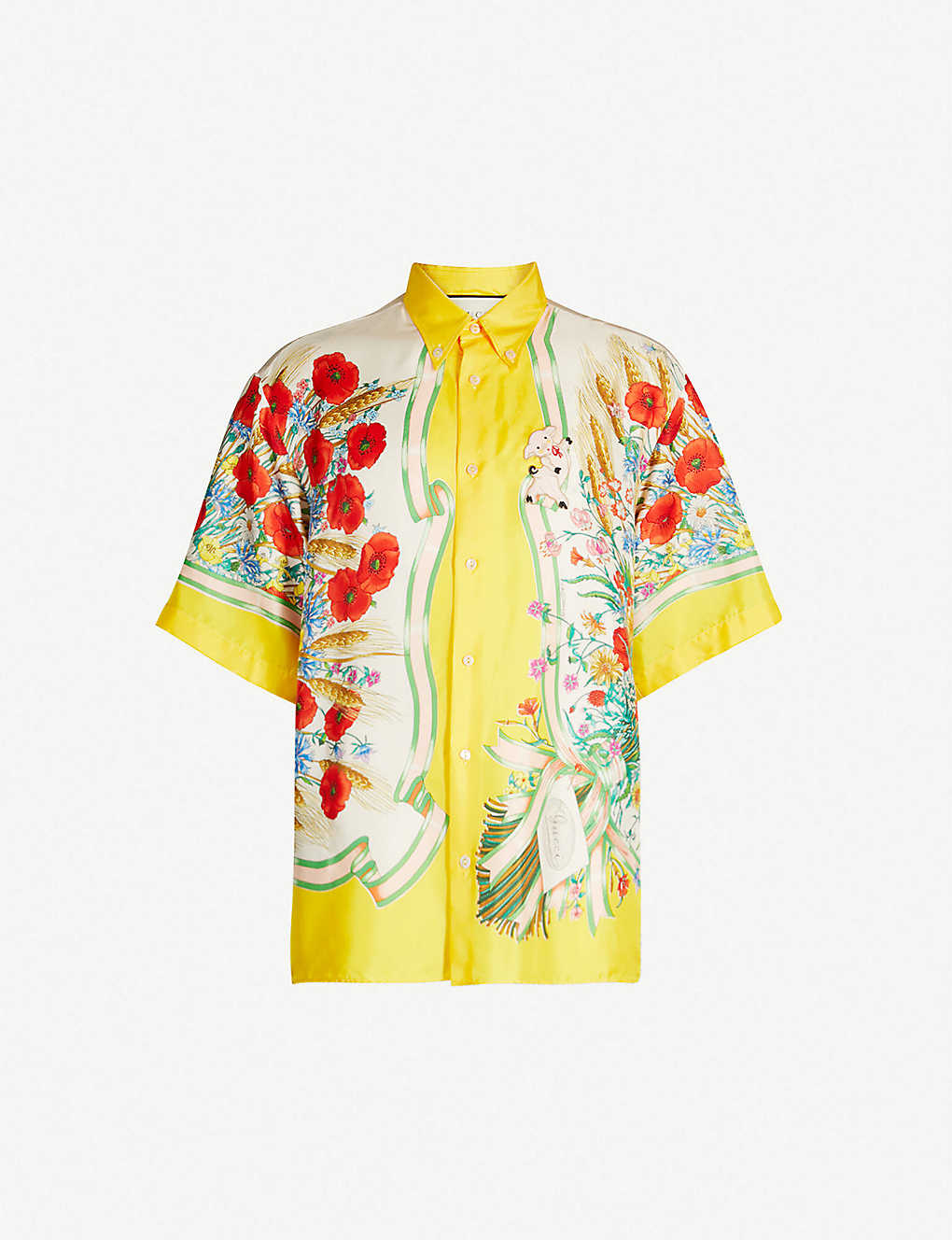 210c0bd06b8 Floral-print oversized silk-twill shirt - Yellow ...