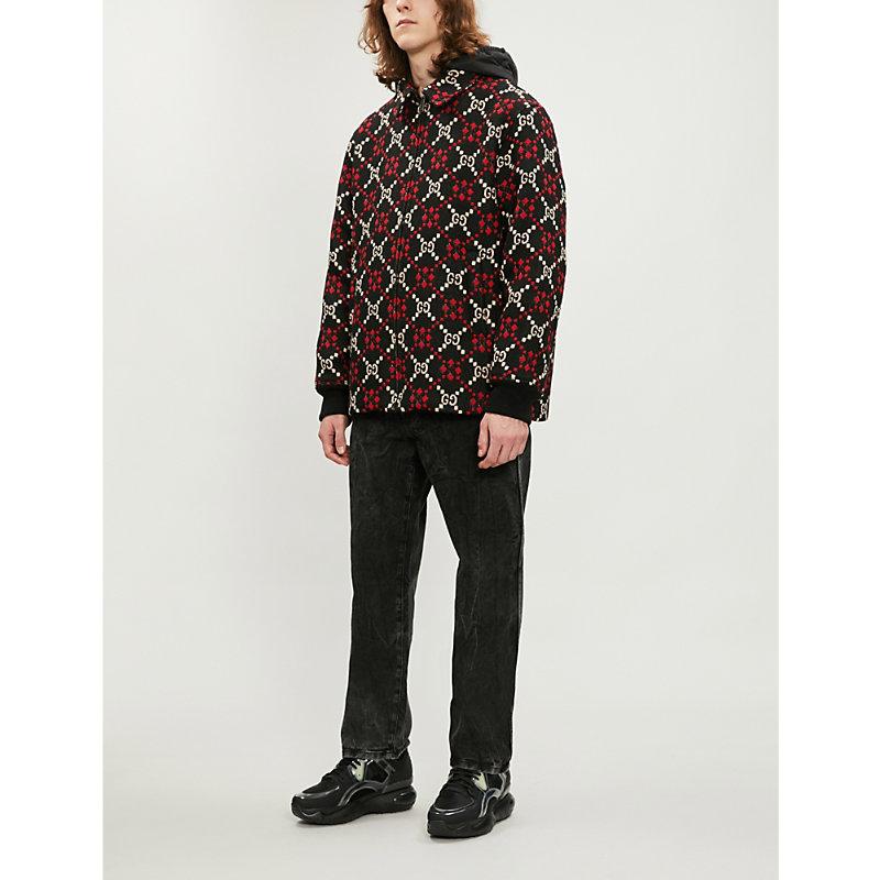 Gg-Motif Wool Coat in Black